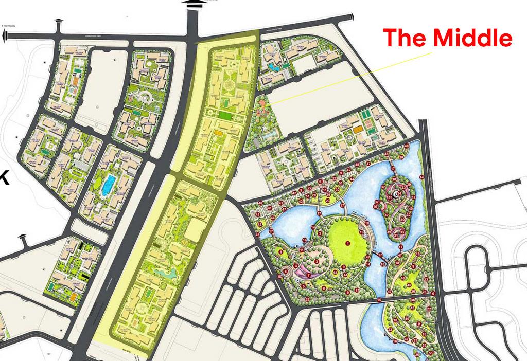 The Middle nằm giữa phân khu cao tầng và nhà phố trong đại đô thị Vinhomes Grand Park